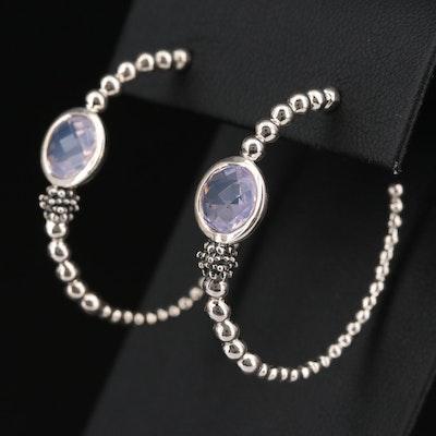 Sterling Silver Amethyst Beaded Hoop Earrings