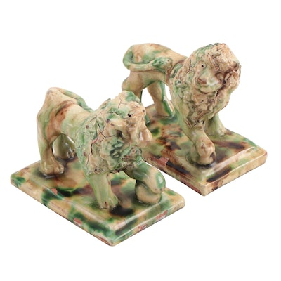 Pair of Cathy Gatch Turtle Creek Pottery Lions, 1993
