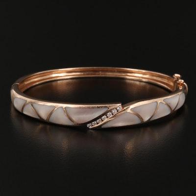 Kabana 14K Rose Gold Mother of Pearl and Diamond Hinged Bracelet