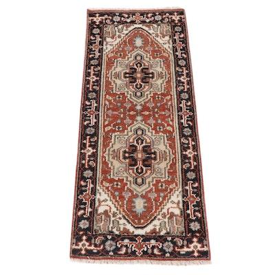 2'5 x 6'2 Hand-Knotted Indo-Persian Heriz Serapi Rug