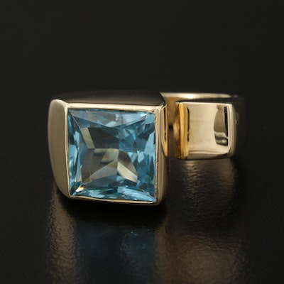 14K Topaz Ring Featuring Asymmetrical Design