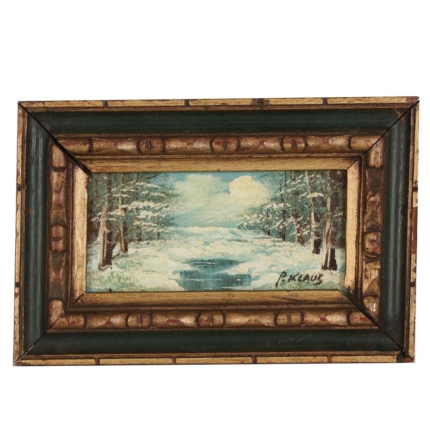 P. Klaus Winter Landscape Oil Painting, Late 20th Century