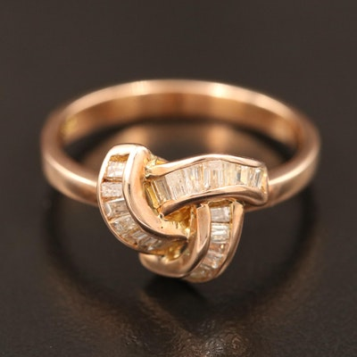 14K Diamond Ring Featuring Knot Motif