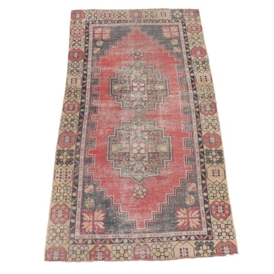 3'6 x 6'6 Hand-Knotted Turkish Village Rug, 1930s