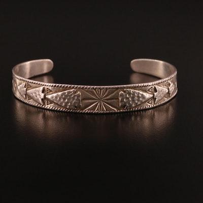 Western Style Sterling Silver Arrow Motif Cuff Bracelet