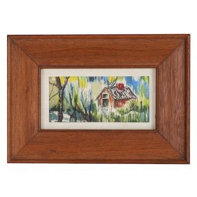 Miniature Landscape Watercolor Painting