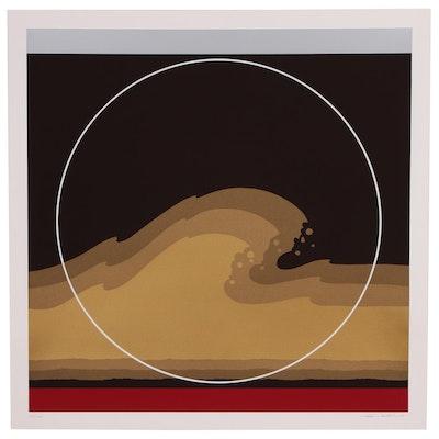 "Thomas W. Benton Abstract Wave Serigraph ""Golden Waves"", 1979"