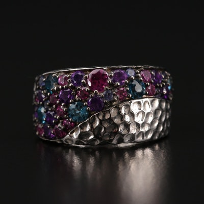 Sterling Silver Amethyst, Topaz and Garnet Ring