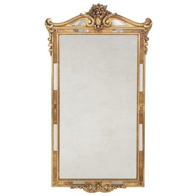Gilt-Finish Molded Composition Wall Mirror with Floral and Scroll Motifs