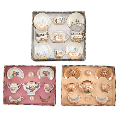 Japanese Porcelain Lustreware Toy Tea Sets in Boxes, Mid-20th Century