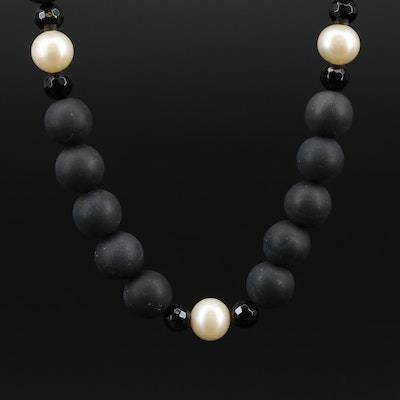 Onyx, Black Onyx and Cultured Pearl Strand Necklace with 14K Clasp