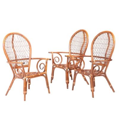 Three Rattan Armchairs