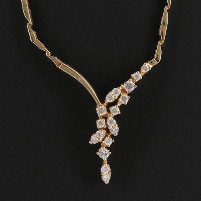 14K Asymmetrical Diamond Spray Necklace