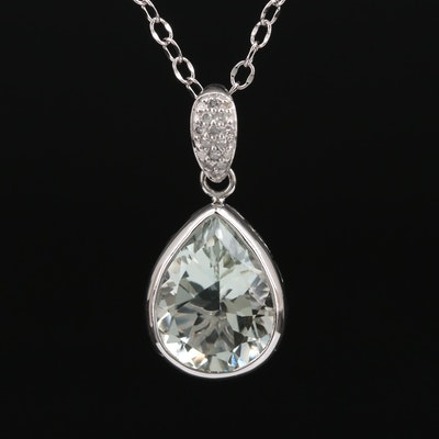 Sterling Silver Prasiolite Pendant Necklace