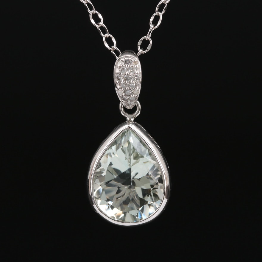 Sterling Silver Prasiolite Pendant Necklace