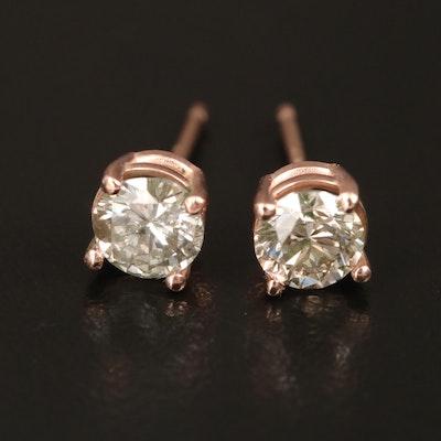 14K Rose Gold 0.75 CTW Diamond Solitaire Stud Earrings