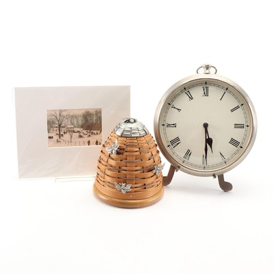 Silver Tone  Clock, Longaberger Collectors Club Beehive Basket, and Photo