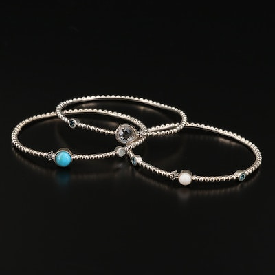Michael Dawkins Sterling Stackable Bracelets with Quartz, Topaz and Turquoise
