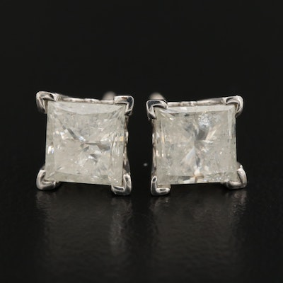 14K Gold 3.01 CTW Diamond Solitaire Stud Earrings