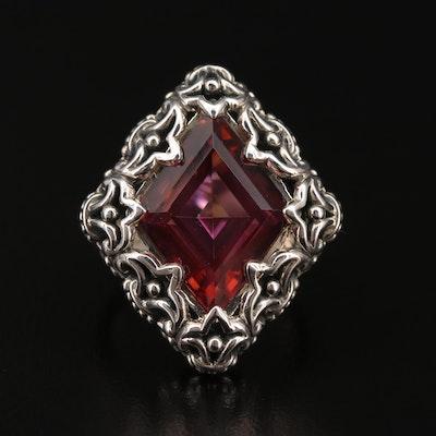 Sterling Quartz Fleur de Lis Motif Ring