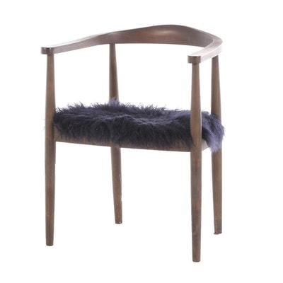 Threshold Walnut and Faux Fur Arm Chair