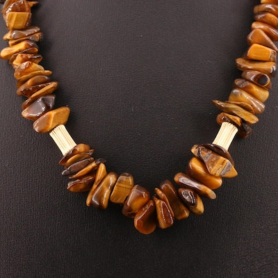 Tiger's Eye Necklace with 14K Clasp and Spacer Beads