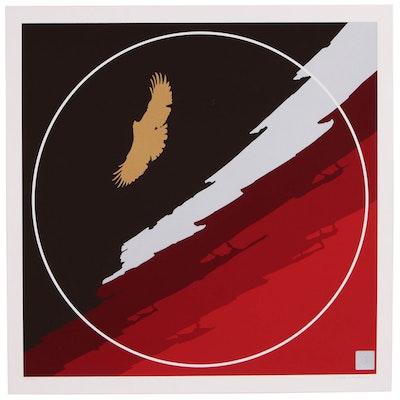 "Thomas W. Benton Graphic Abstract Serigraph ""Golden Eagle"", 1979"