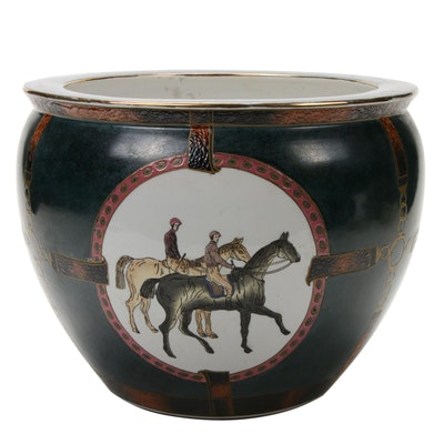 Chinese Export Ceramic Fishbowl Planter with Equestrian Scenes