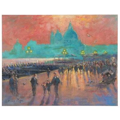 "Nino Pippa Oil Painting ""Venice Sunset"", 2013"