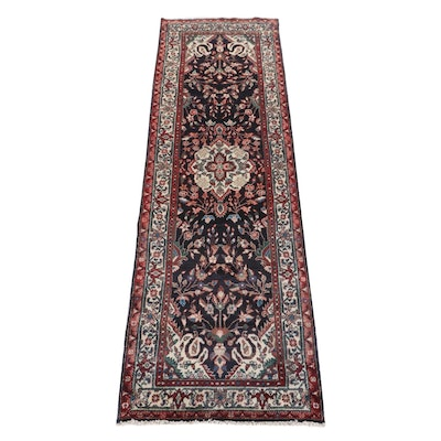 3'2 x 10'1 Hand-Knotted Persian Lilihan Wide Runner Rug, 1980s
