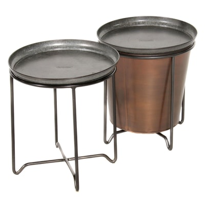 "Pair of Smith & Hawken Plant Stands with Trays and 15"" Copper Finished Planter"