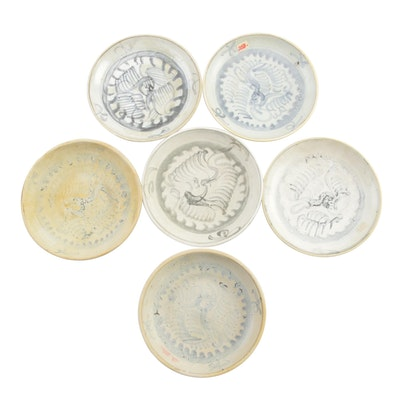 Chinese Ming Swatow Ware Ceramic Dishes,19th Century