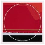 "Thomas W. Benton Graphic Abstract Serigraph ""Red Mountain"", 1979"