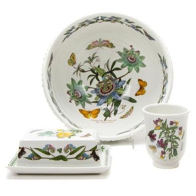 "Portmeirion ""Botanic Garden"" Porcelain Serving Bowl, Butter Server and Cup"