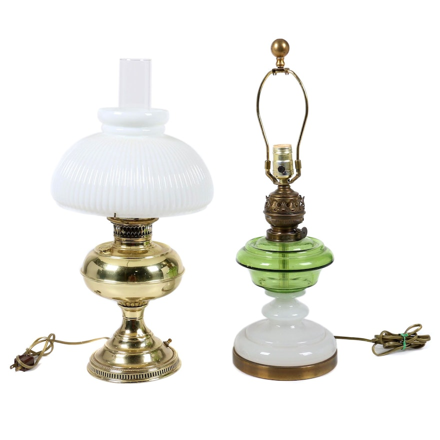 Converted Hurricane Lamp Table Lamps Including Rayo