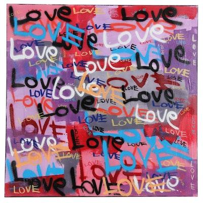 R.C. Raynor Graffiti Style Mixed Media Painting