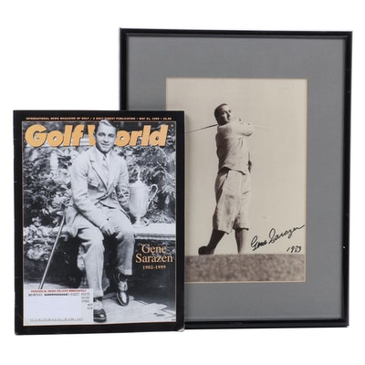 Gene Sarazen Signed Photograph and Comemorative Golf World Issue