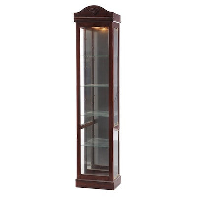 Cherry Glass Front Illuminated Curio Cabinet, Late 20th Century
