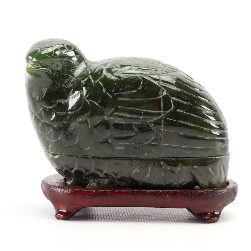Chinese Carved Nephrite Quail Box with Wood Stand