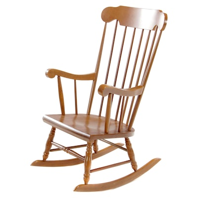 American Colonial Style Maple Spindle Back Rocking Chair, Late 20th Century