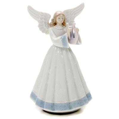 "Lladró ""Heavenly Harpist"" Porcelain Angel Figurine Designed by Francisco Catalá"