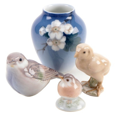 Royal Copenhagen Porcelain Vase with Danish Porcelain Figurines