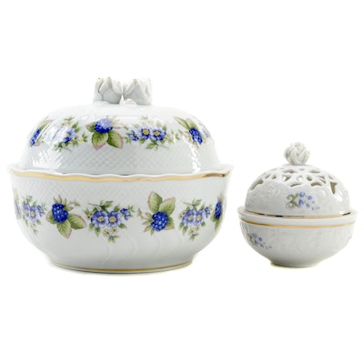 Hollóháza Porcelain Covered Bowl and Trinket Dish, Late 20th Century