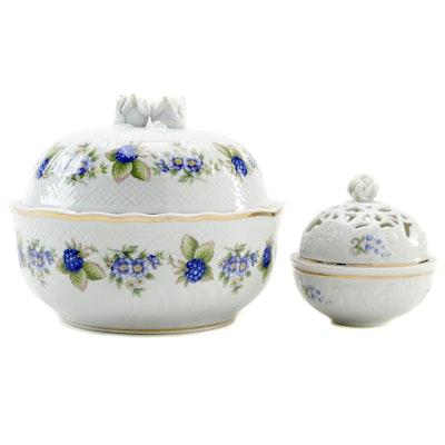 Hollóháza Porcelain Covered Bowl and Trinket Dish, Late 20th Century