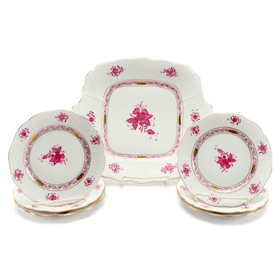 "Herend Raspberry ""Chinese Bouquet"" Cake Plate and Bread and Butter Plates"