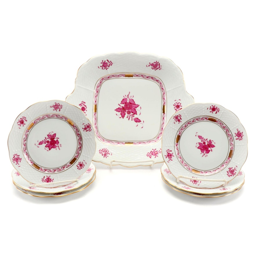 """Herend Raspberry """"Chinese Bouquet"""" Cake Plate and Bread and Butter Plates"""