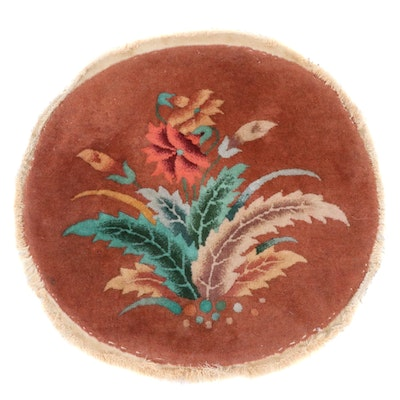 2'1 x 2'2 Hand-Knotted Chinese Art Deco Style Round Rug, 1920s