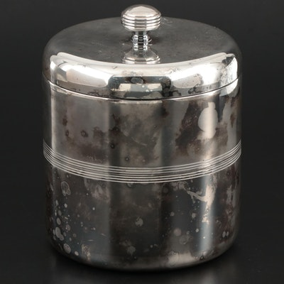 Christofle Art Deco Style Silver Plate Insulated Lidded Ice Bucket