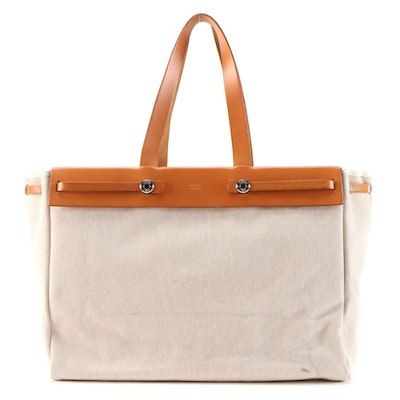 Hermès Herbag Cabas 2-in-1 Tote in Beige Canvas and Tan Vache Calfskin Leather