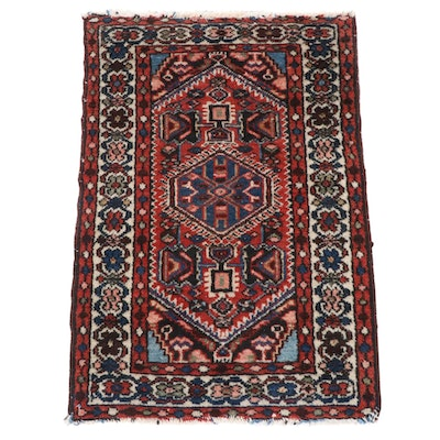 1'11 x 2'10 Hand-Knotted Persian Zanjan Rug, 1920s